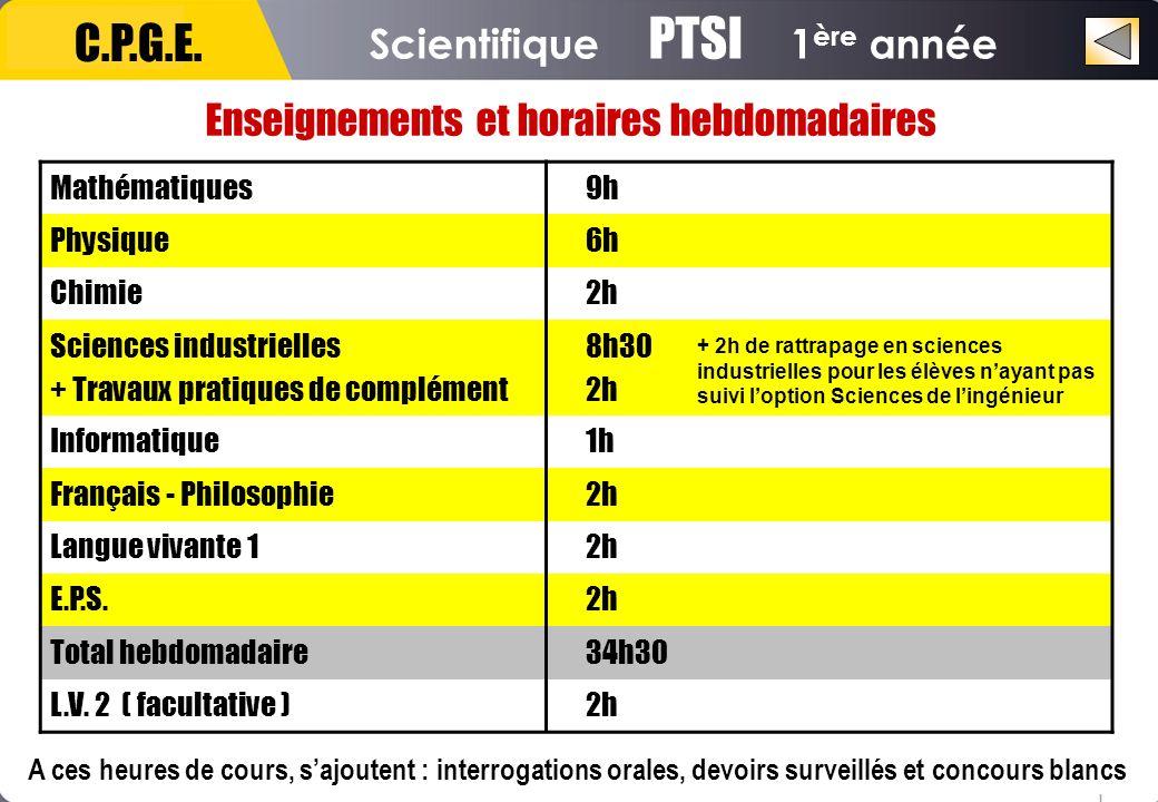 Scientifique PTSI 1 ère année C.P.G.E.