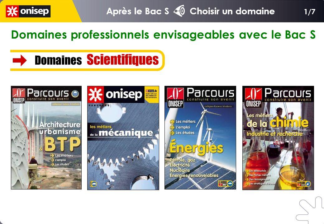 Domaines professionnels envisageables avec le Bac S Domaines Scientifiques 1/7 Après le Bac S Choisir un domaine