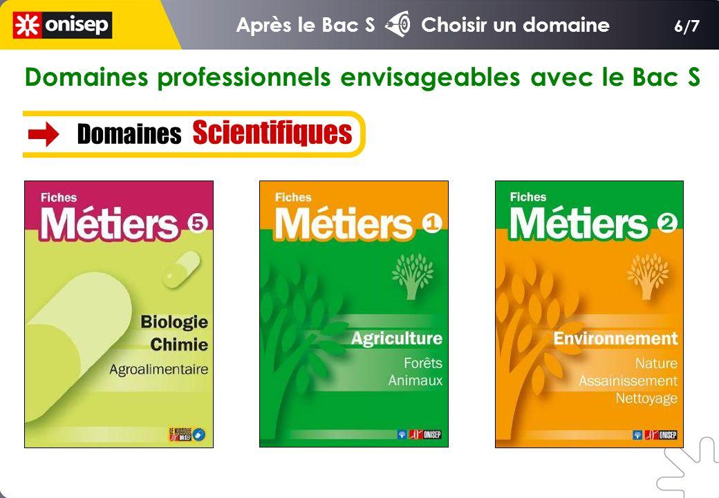 Domaines professionnels envisageables avec le Bac S Domaines Scientifiques 6/7 Après le Bac S Choisir un domaine