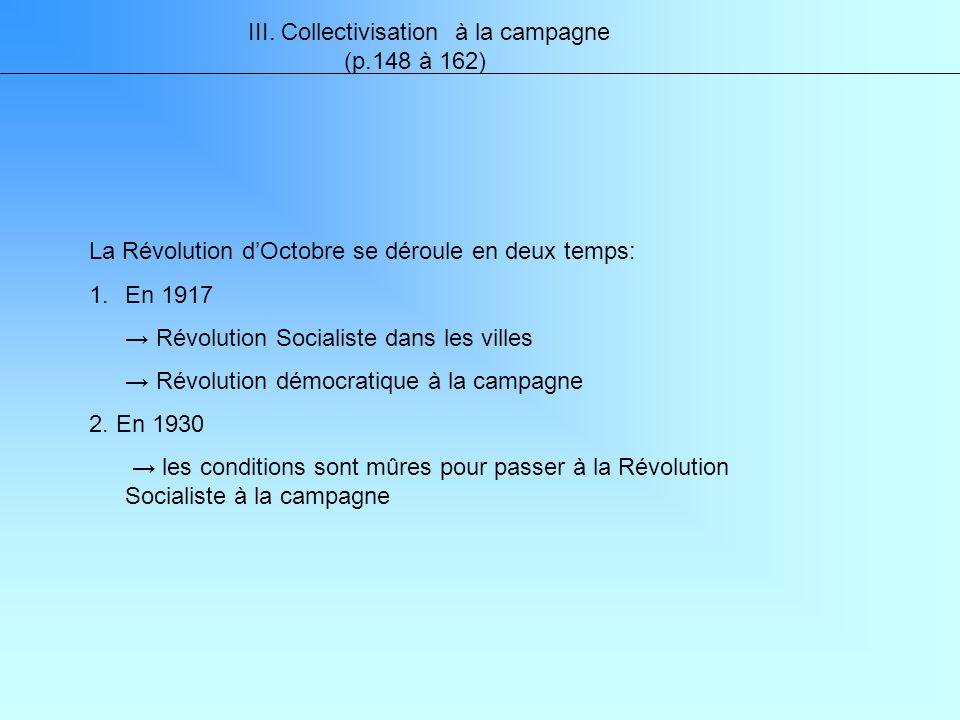 III. Collectivisation à la campagne (p.148 à 162) La Révolution dOctobre se déroule en deux temps: 1.En 1917 Révolution Socialiste dans les villes Rév