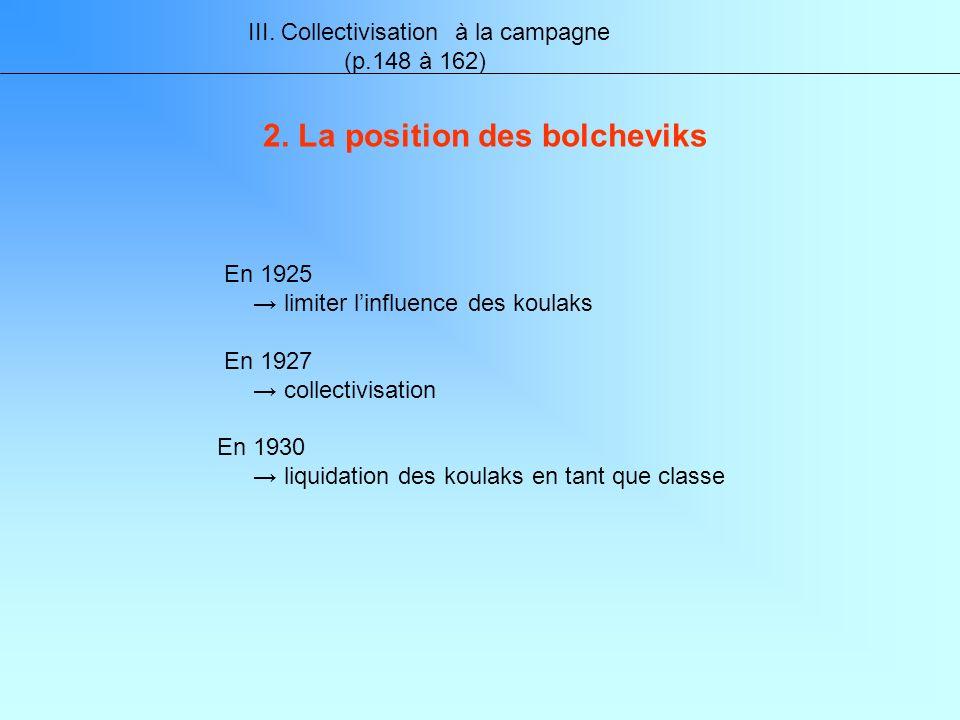 III. Collectivisation à la campagne (p.148 à 162) 2.