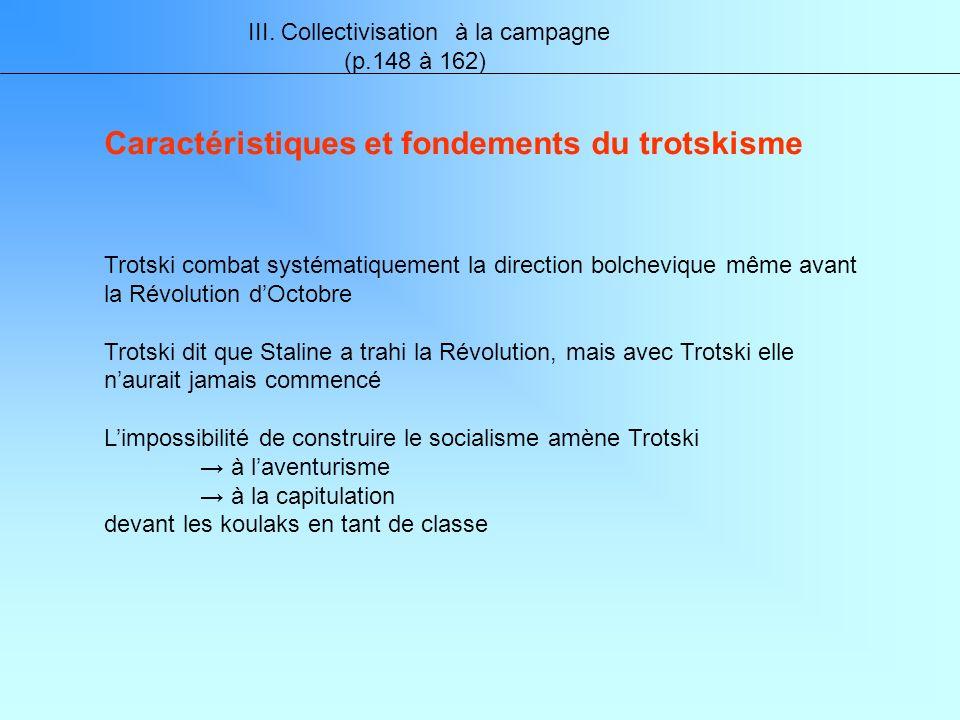 III. Collectivisation à la campagne (p.148 à 162) Trotski combat systématiquement la direction bolchevique même avant la Révolution dOctobre Trotski d