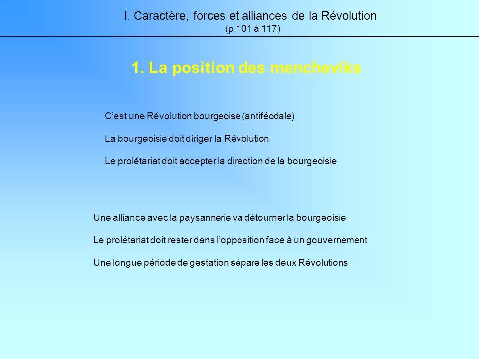 Une alliance avec la paysannerie va détourner la bourgeoisie Le prolétariat doit rester dans lopposition face à un gouvernement Une longue période de gestation sépare les deux Révolutions I.