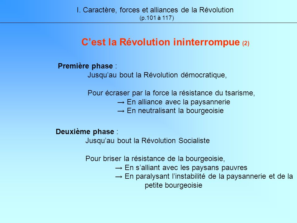 Deuxième phase : Jusquau bout la Révolution Socialiste Pour briser la résistance de la bourgeoisie, En salliant avec les paysans pauvres En paralysant linstabilité de la paysannerie et de la petite bourgeoisie I.