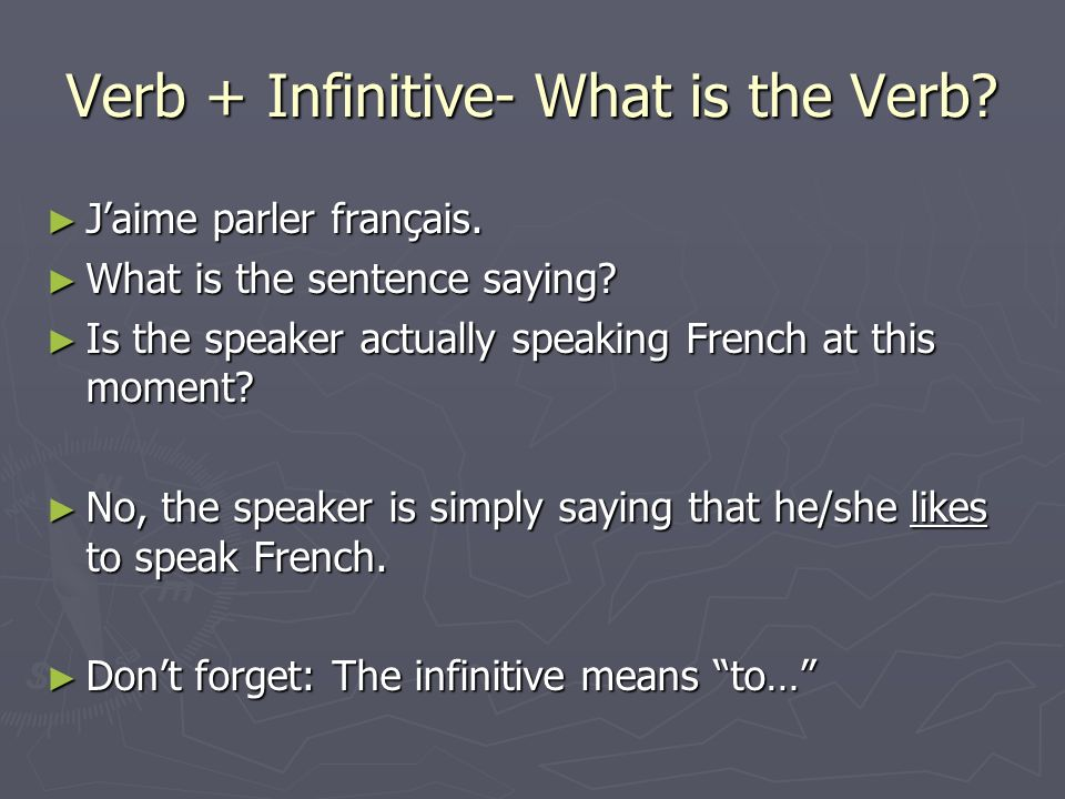 Verb + Infinitive- What is the Verb? Jaime parler français. Jaime parler français. What is the sentence saying? What is the sentence saying? Is the sp