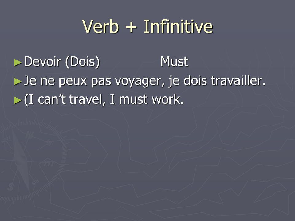 Verb + Infinitive Devoir (Dois)Must Devoir (Dois)Must Je ne peux pas voyager, je dois travailler.