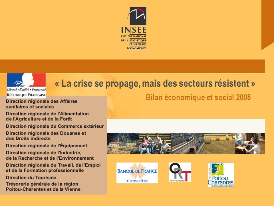 18 juin 2009 Insee Poitou-Charentes Bilan économique et social 2008 « La crise se propage, mais des secteurs résistent »