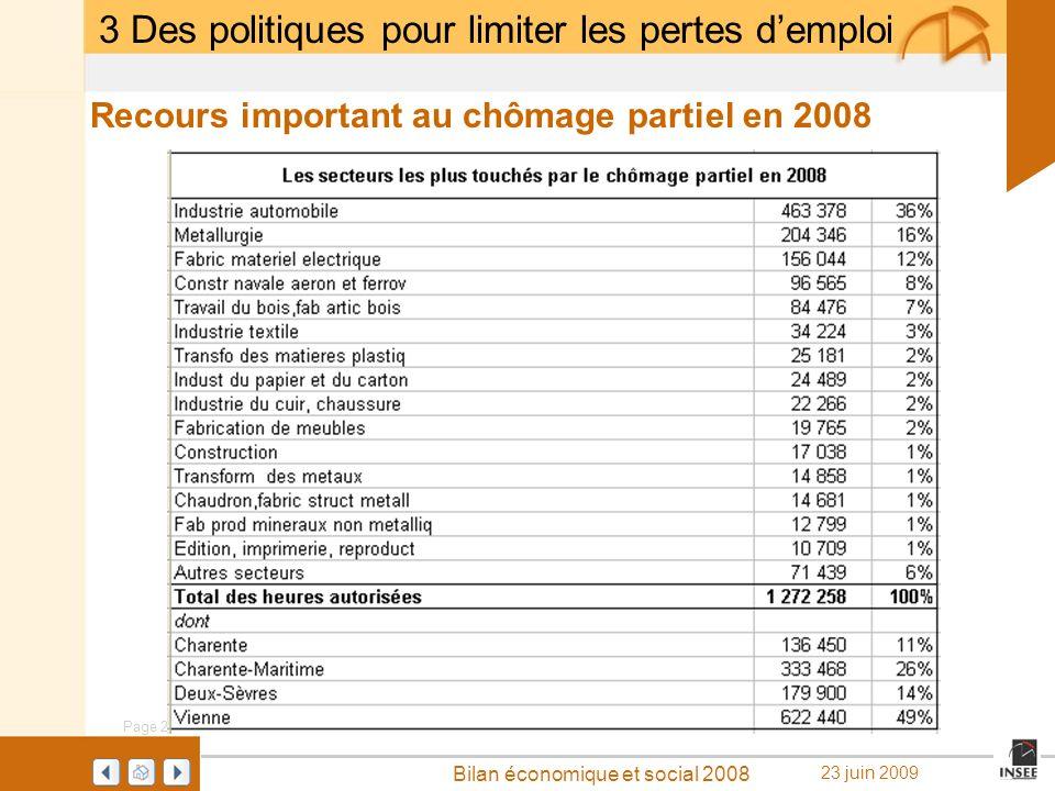 Page 20 Bilan économique et social 2008 23 juin 2009 Recours important au chômage partiel en 2008 3 Des politiques pour limiter les pertes demploi