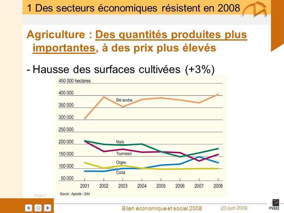 Page 5 Bilan économique et social 2008 23 juin 2009 Agriculture : Des quantités produites plus importantes, à des prix plus élevés -Hausse des surface