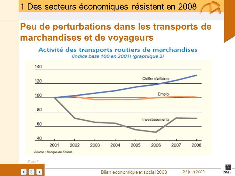 Page 7 Bilan économique et social 2008 23 juin 2009 1 Des secteurs économiques résistent en 2008 Peu de perturbations dans les transports de marchandi