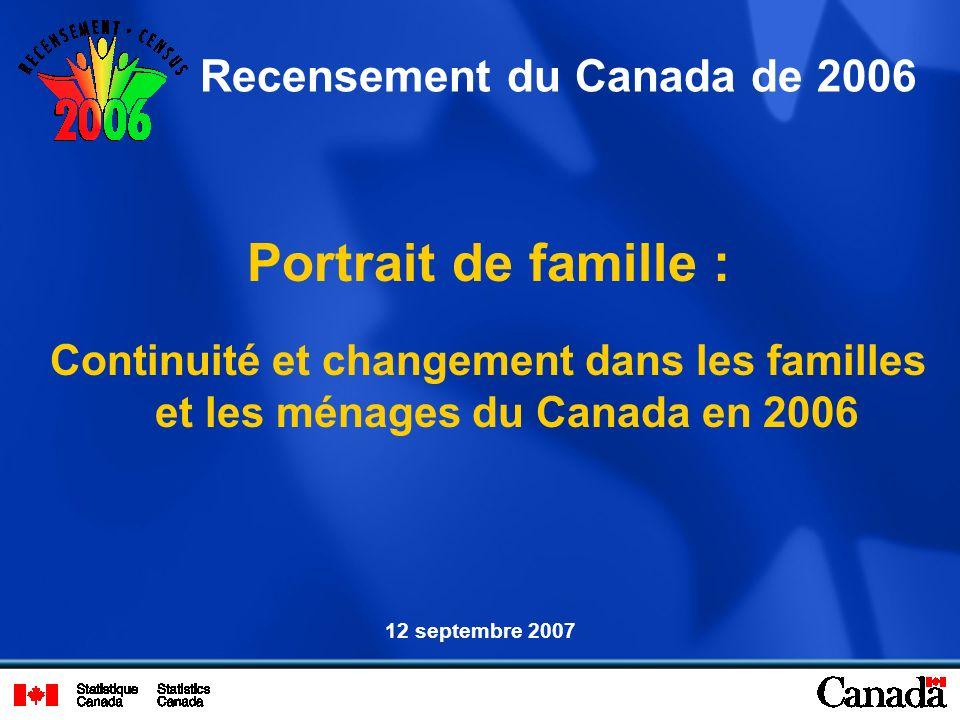 Portrait de famille : Continuité et changement dans les familles et les ménages du Canada en 2006 Recensement du Canada de 2006 12 septembre 2007