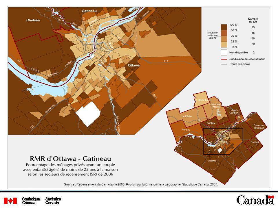 Source : Recensement du Canada de 2006. Produit par la Division de la géographie, Statistique Canada, 2007.