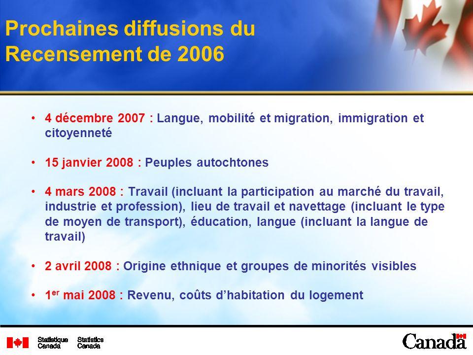 Prochaines diffusions du Recensement de 2006 4 décembre 2007 : Langue, mobilité et migration, immigration et citoyenneté 15 janvier 2008 : Peuples aut