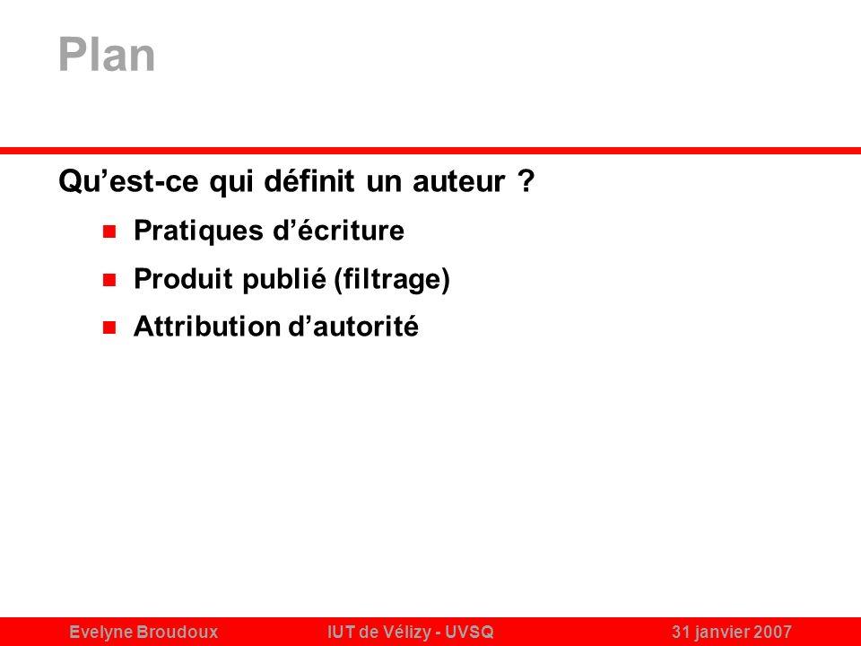 Evelyne BroudouxIUT de Vélizy - UVSQ31 janvier 2007 Plan Quest-ce qui définit un auteur .