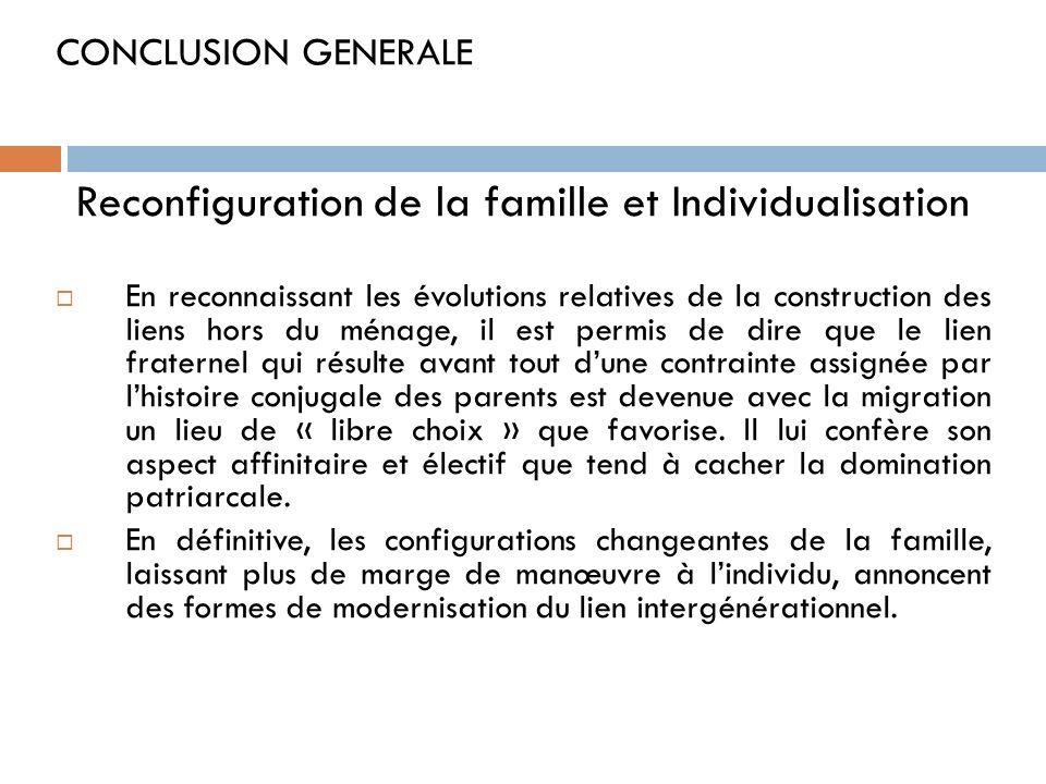 CONCLUSION GENERALE Reconfiguration de la famille et Individualisation En reconnaissant les évolutions relatives de la construction des liens hors du