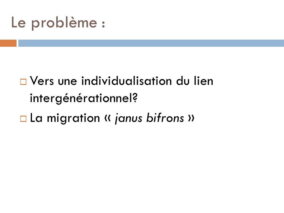 Le problème : Vers une individualisation du lien intergénérationnel? La migration « janus bifrons »