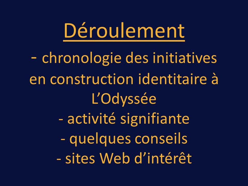 Déroulement - chronologie des initiatives en construction identitaire à LOdyssée - activité signifiante - quelques conseils - sites Web dintérêt