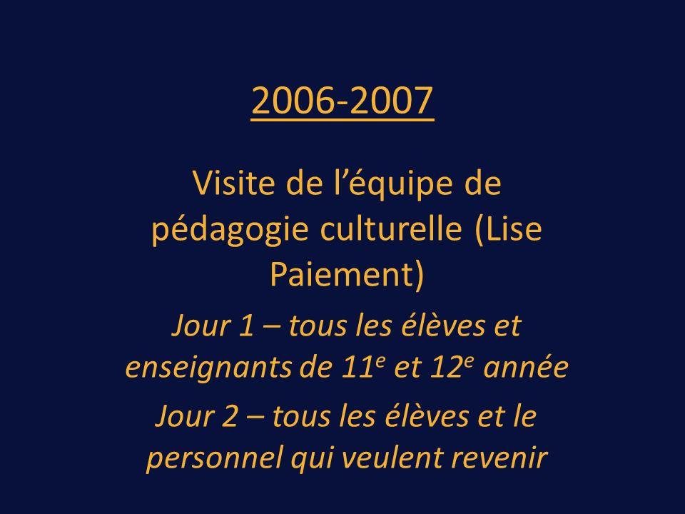 2006-2007 Visite de léquipe de pédagogie culturelle (Lise Paiement) Jour 1 – tous les élèves et enseignants de 11 e et 12 e année Jour 2 – tous les élèves et le personnel qui veulent revenir