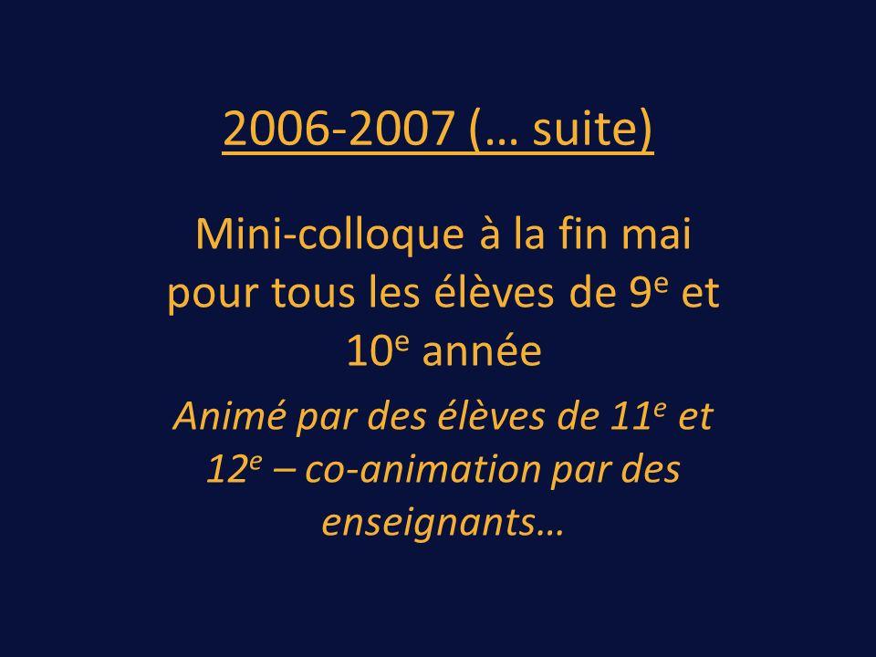 2006-2007 (… suite) Mini-colloque à la fin mai pour tous les élèves de 9 e et 10 e année Animé par des élèves de 11 e et 12 e – co-animation par des enseignants…