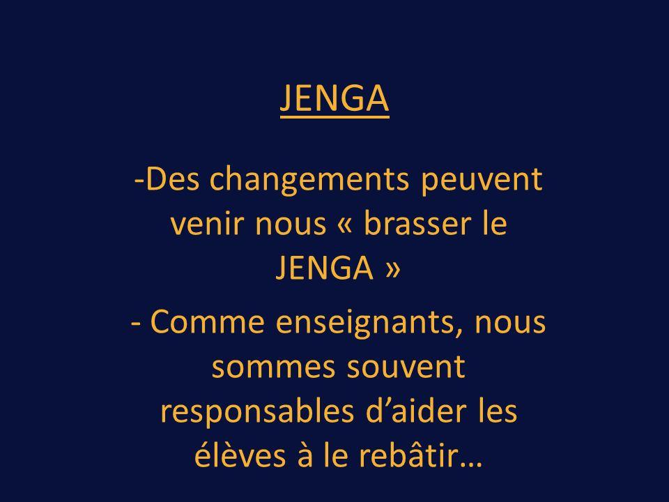 JENGA -Des changements peuvent venir nous « brasser le JENGA » - Comme enseignants, nous sommes souvent responsables daider les élèves à le rebâtir…