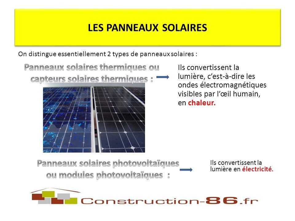 Ils convertissent la lumière, cest-à-dire les ondes électromagnétiques visibles par lœil humain, en chaleur.