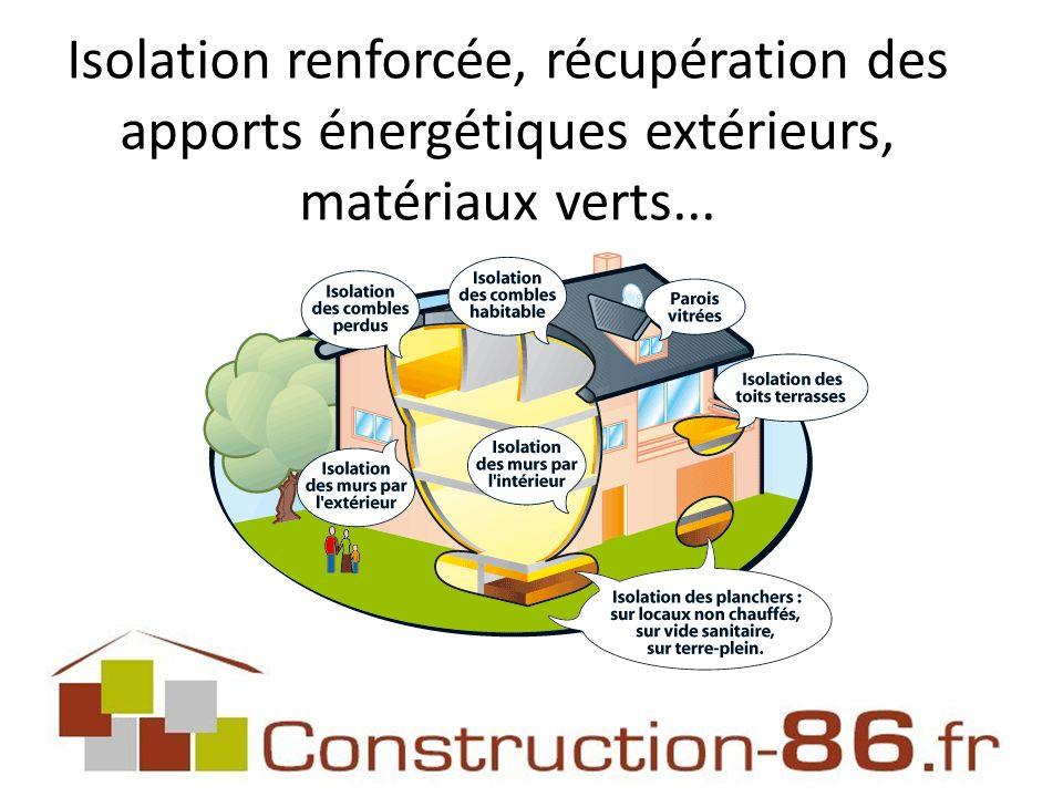 Isolation renforcée, récupération des apports énergétiques extérieurs, matériaux verts...