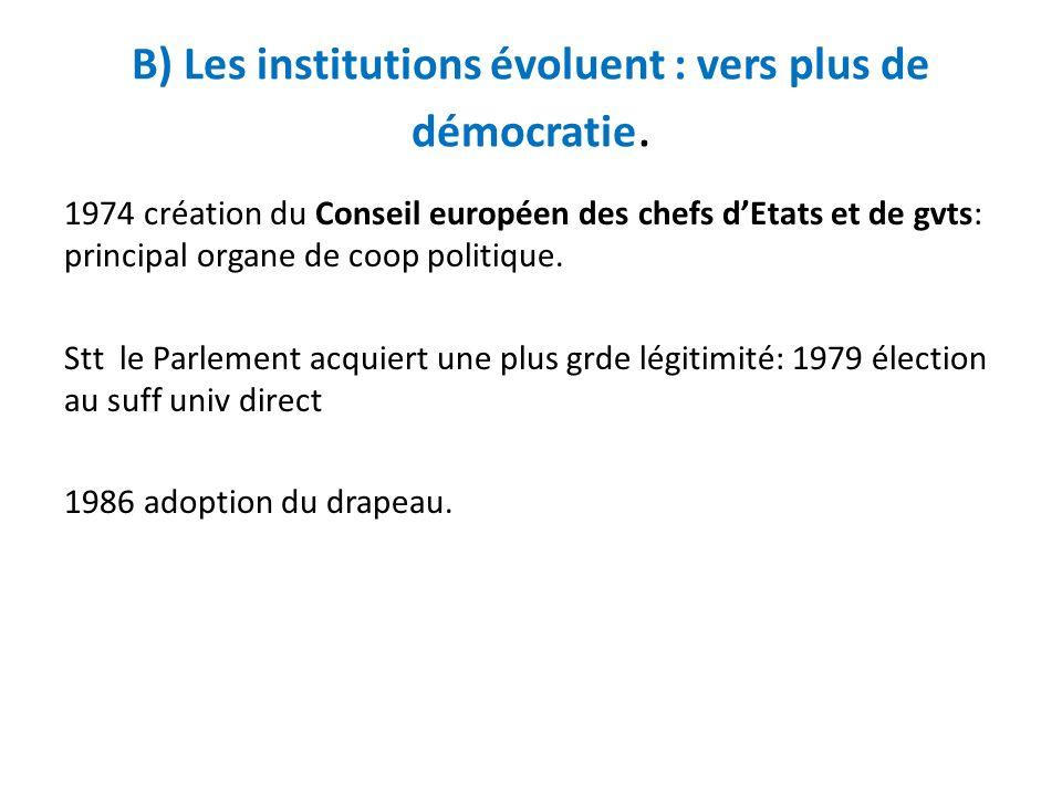 B) Les institutions évoluent : vers plus de démocratie. 1974 création du Conseil européen des chefs dEtats et de gvts: principal organe de coop politi