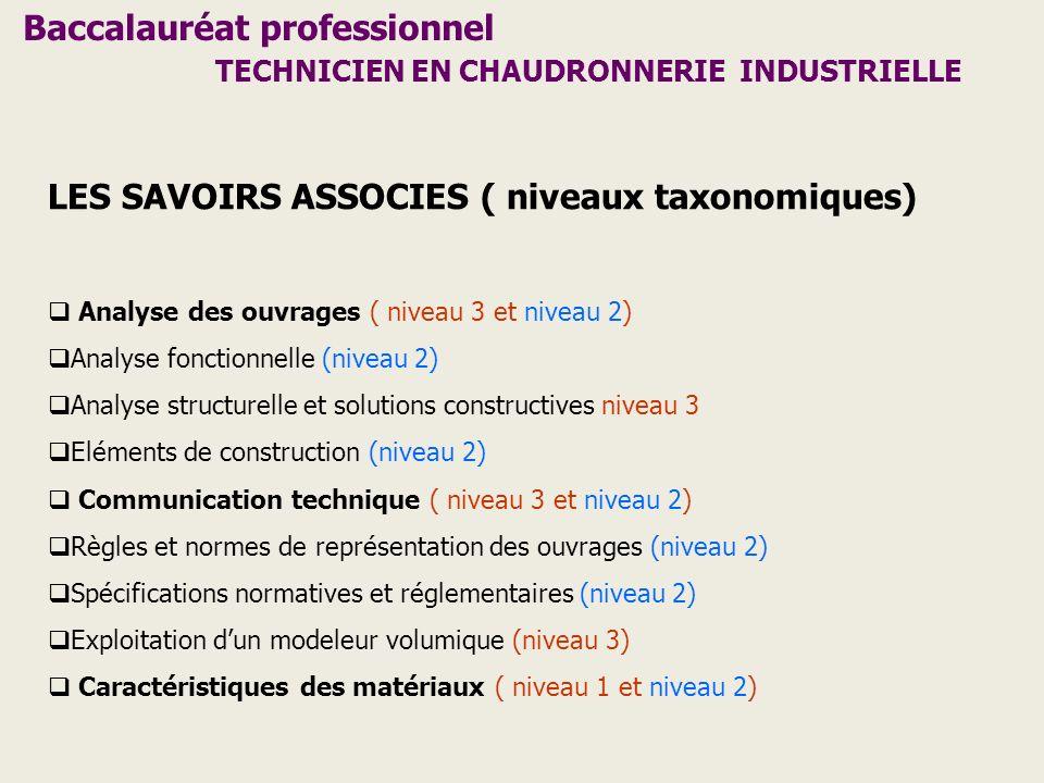 Baccalauréat professionnel TECHNICIEN EN CHAUDRONNERIE INDUSTRIELLE LES SAVOIRS ASSOCIES ( niveaux taxonomiques) Analyse des ouvrages ( niveau 3 et ni