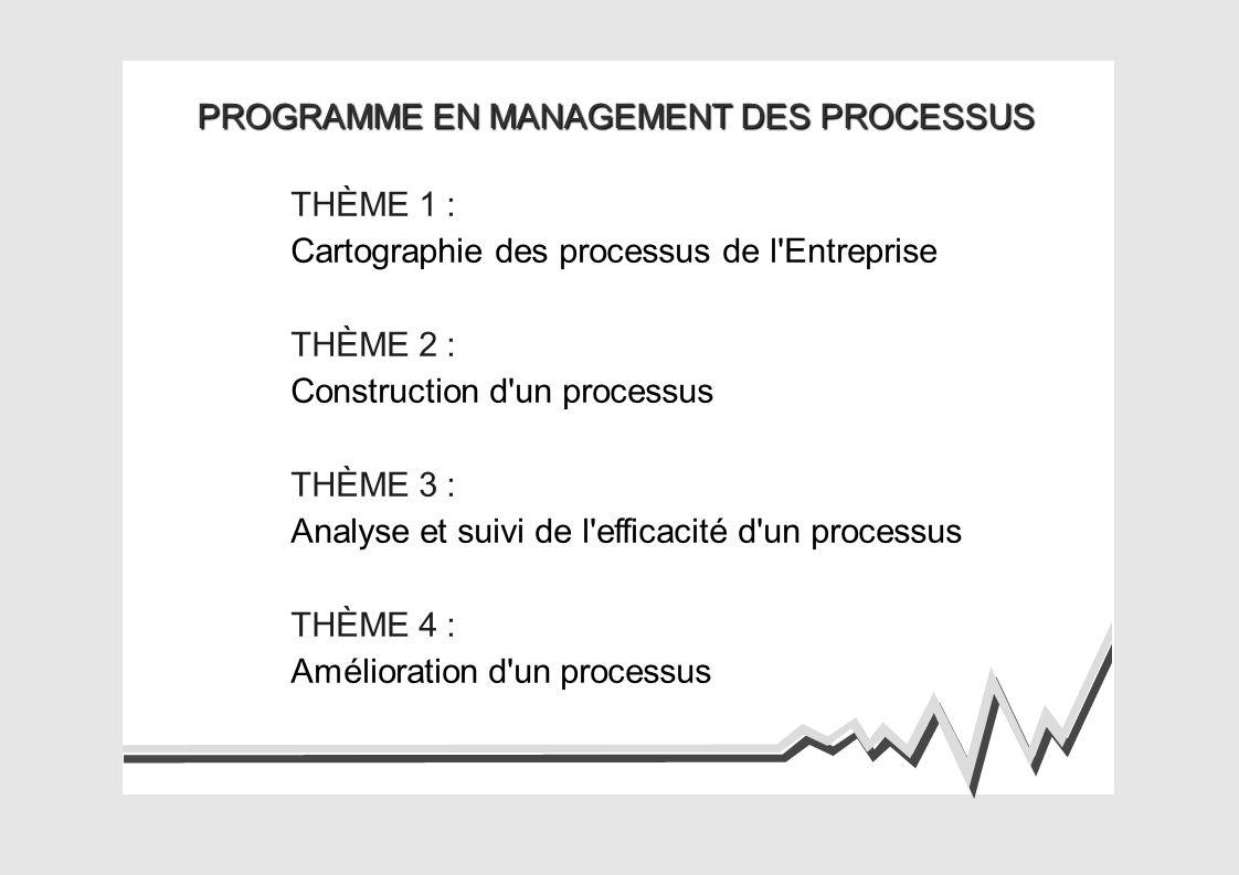 PROGRAMME EN MANAGEMENT DES PROCESSUS THÈME 1 : Cartographie des processus de l Entreprise THÈME 2 : Construction d un processus THÈME 3 : Analyse et suivi de l efficacité d un processus THÈME 4 : Amélioration d un processus