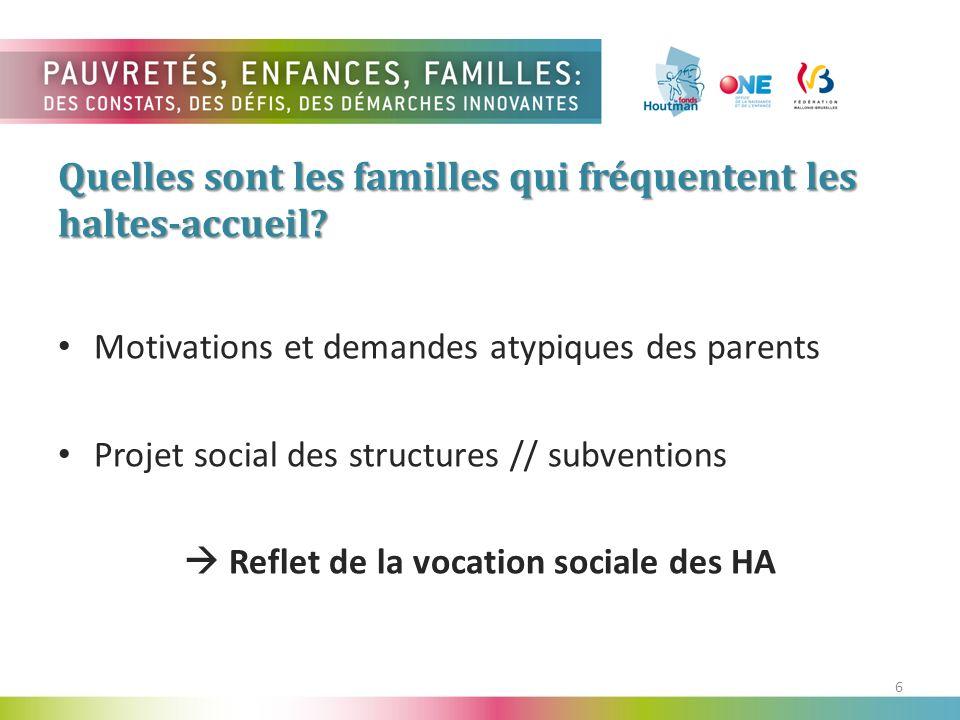6 Motivations et demandes atypiques des parents Projet social des structures // subventions Reflet de la vocation sociale des HA