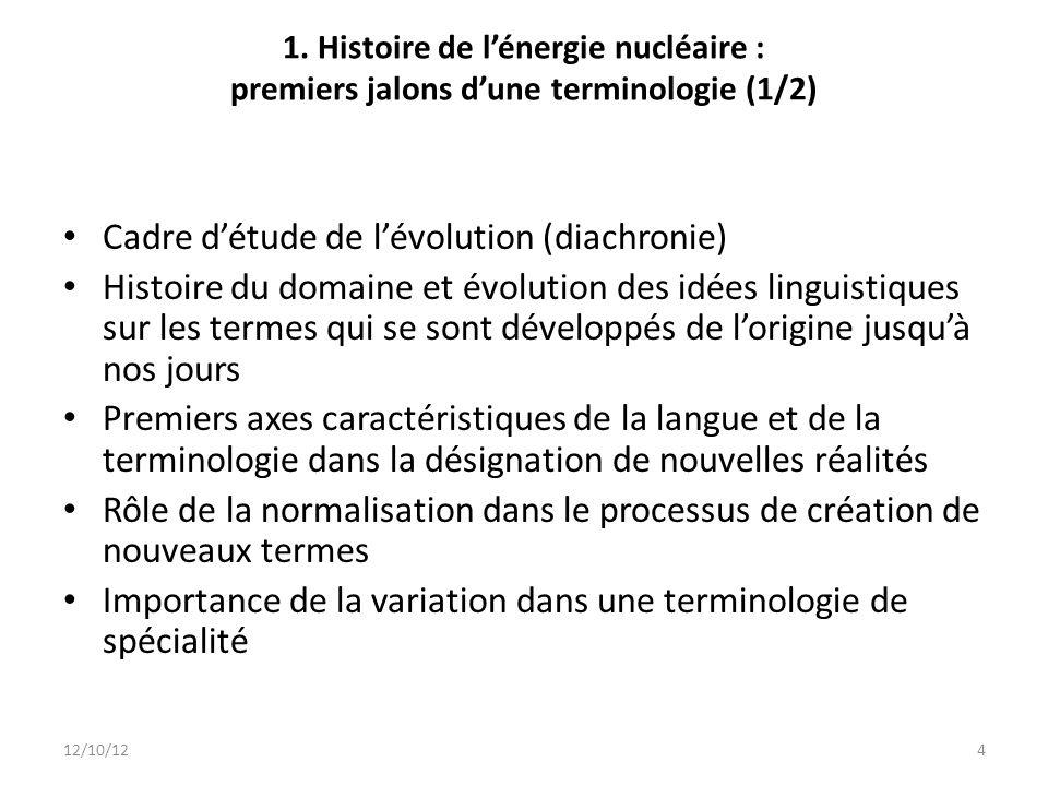 1. Histoire de lénergie nucléaire : premiers jalons dune terminologie (1/2) Cadre détude de lévolution (diachronie) Histoire du domaine et évolution d