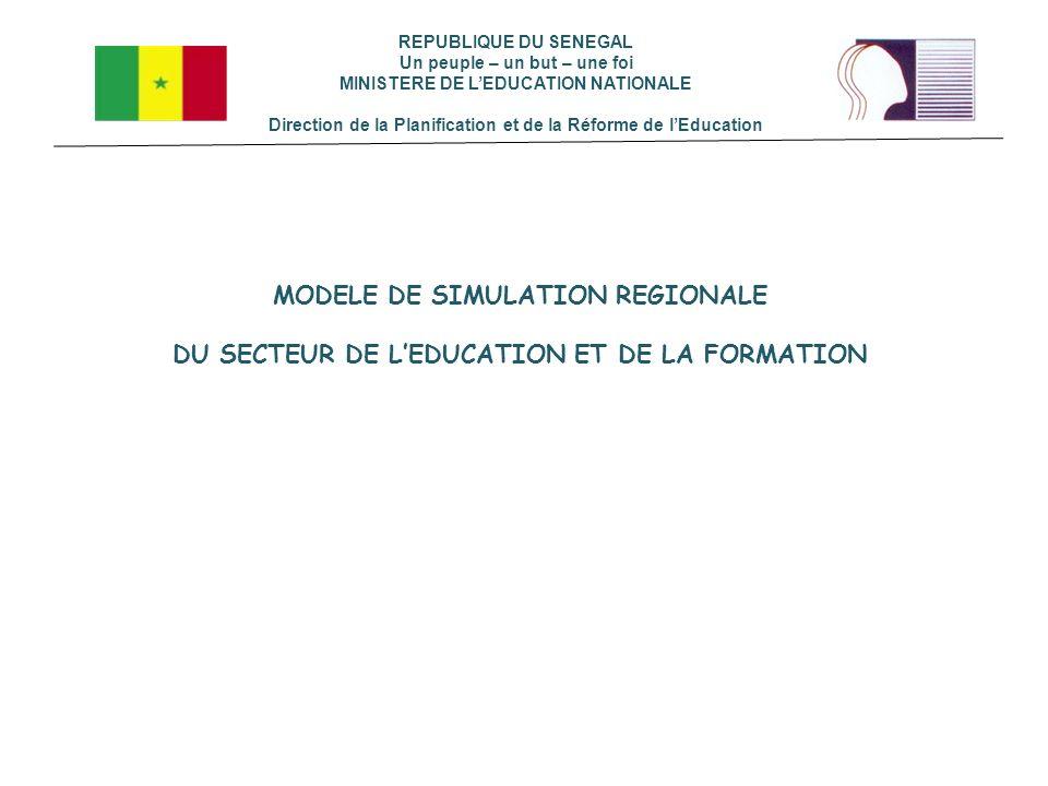 REPUBLIQUE DU SENEGAL Un peuple – un but – une foi MINISTERE DE LEDUCATION NATIONALE Direction de la Planification et de la Réforme de lEducation MODE