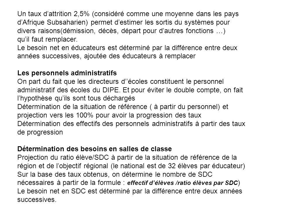 Un taux dattrition 2,5% (considéré comme une moyenne dans les pays dAfrique Subsaharien) permet destimer les sortis du systèmes pour divers raisons(dé
