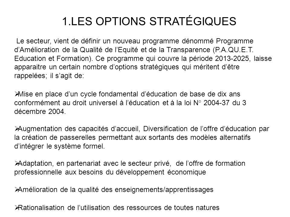 1.LES OPTIONS STRATÉGIQUES Le secteur, vient de définir un nouveau programme dénommé Programme dAmélioration de la Qualité de lEquité et de la Transparence (P.A.QU.E.T.