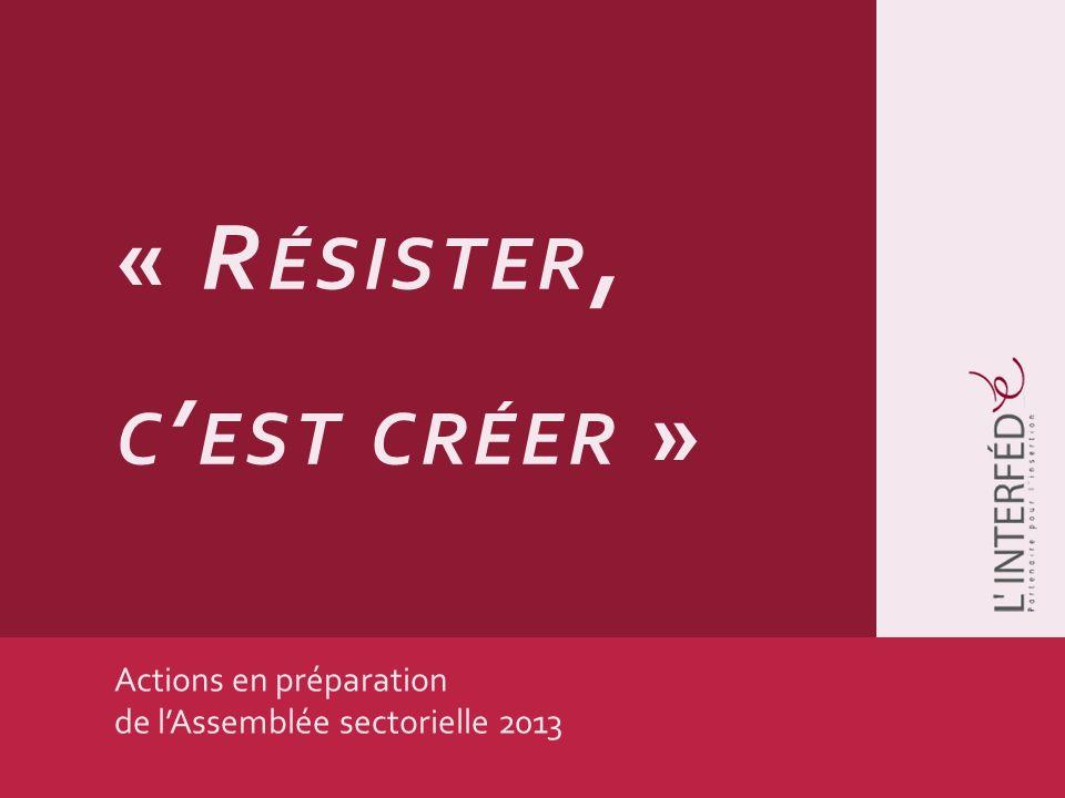 Actions en préparation de lAssemblée sectorielle 2013 « R ÉSISTER, C EST CRÉER »