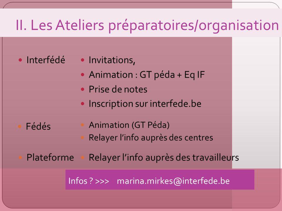 II. Les Ateliers préparatoires/organisation Interfédé Invitations, Animation : GT péda + Eq IF Prise de notes Inscription sur interfede.be Plateforme