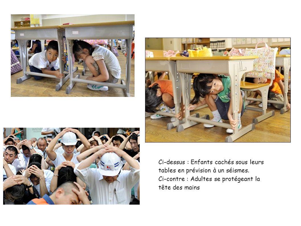 Ci-dessus : Enfants cachés sous leurs tables en prévision à un séismes. Ci-contre : Adultes se protégeant la tête des mains