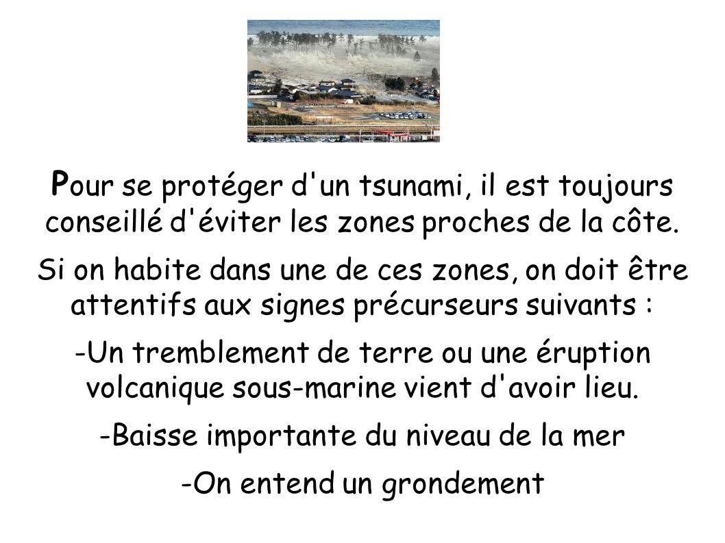 P our se protéger d'un tsunami, il est toujours conseillé d'éviter les zones proches de la côte. Si on habite dans une de ces zones, on doit être atte