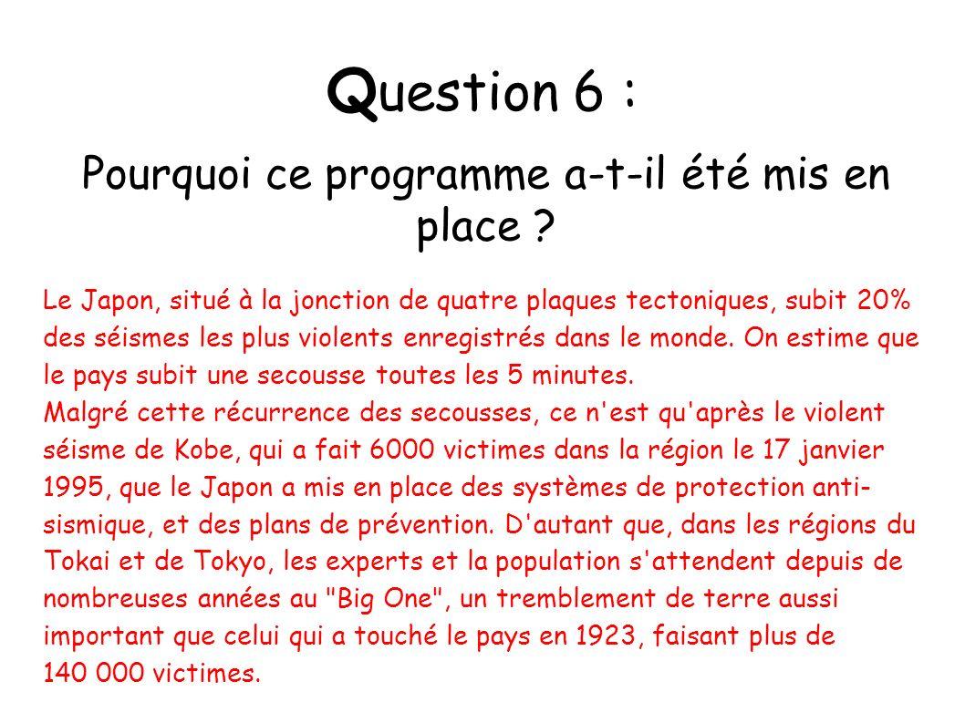 Q uestion 6 : Pourquoi ce programme a-t-il été mis en place ? Le Japon, situé à la jonction de quatre plaques tectoniques, subit 20% des séismes les p