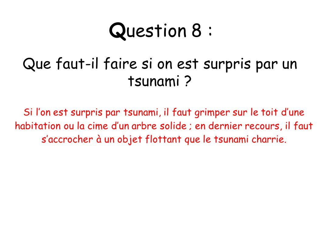 Q uestion 8 : Que faut-il faire si on est surpris par un tsunami ? Si lon est surpris par tsunami, il faut grimper sur le toit dune habitation ou la c