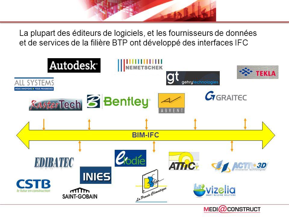 La plupart des éditeurs de logiciels, et les fournisseurs de données et de services de la filière BTP ont développé des interfaces IFC BIM-IFC
