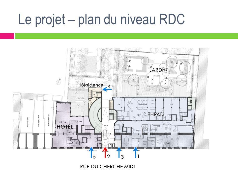 Le projet – plan du niveau RDC RUE DU CHERCHE MIDI JARDIN EHPAD HOTEL Résidence 1 5 4 3 2