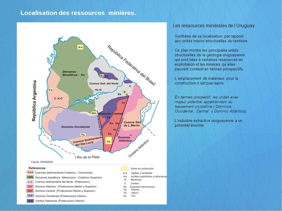 Localisation des ressources minières. Les ressources minérales de l Uruguay. Synthèse de sa localisation par rapport aux unités macro-structurelles du