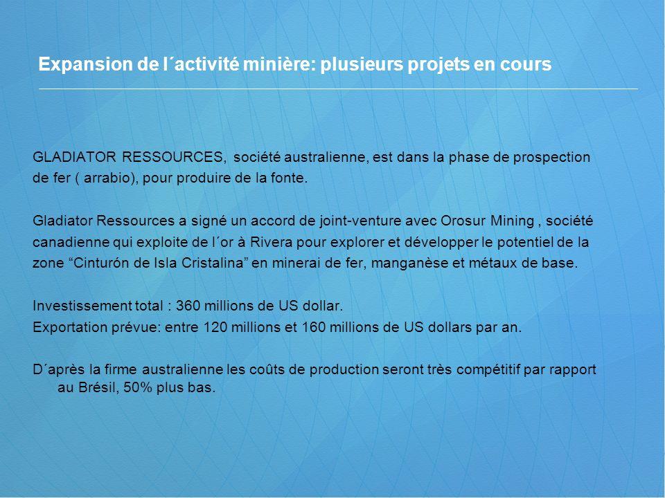 Expansion de l´activité minière: plusieurs projets en cours GLADIATOR RESSOURCES, société australienne, est dans la phase de prospection de fer ( arra