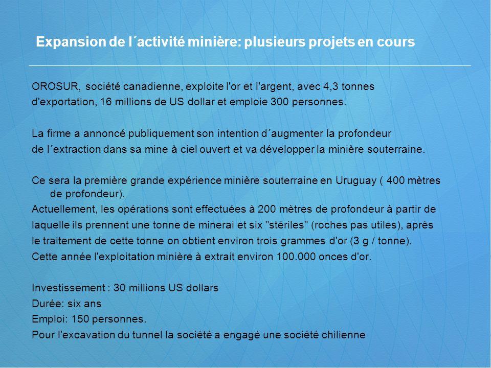 OROSUR, société canadienne, exploite l'or et l'argent, avec 4,3 tonnes d'exportation, 16 millions de US dollar et emploie 300 personnes. La firme a an