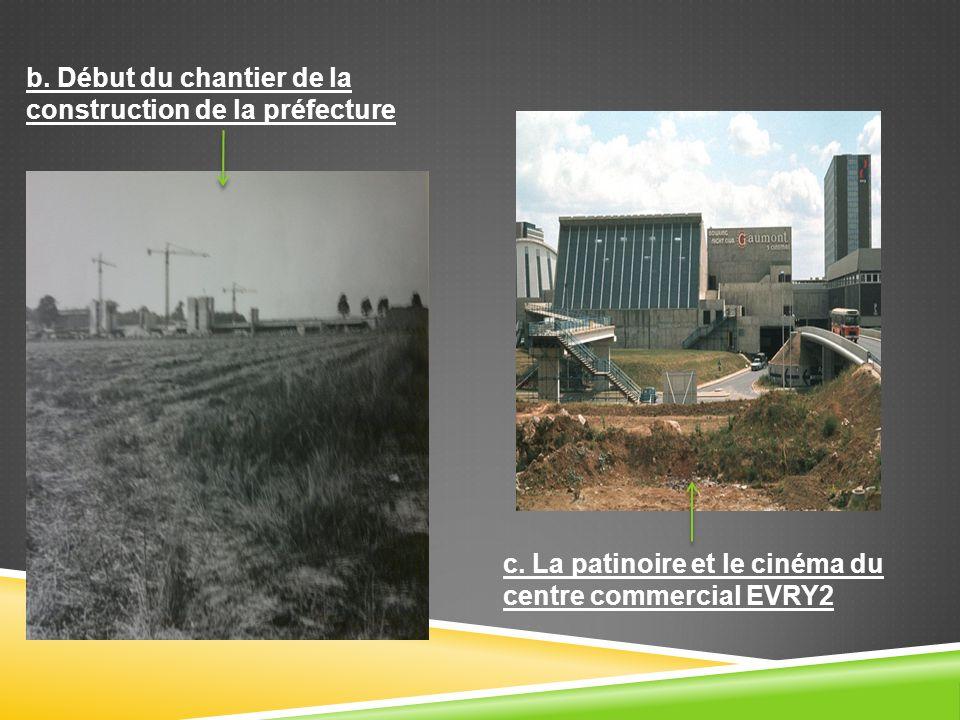 b. Début du chantier de la construction de la préfecture c. La patinoire et le cinéma du centre commercial EVRY2