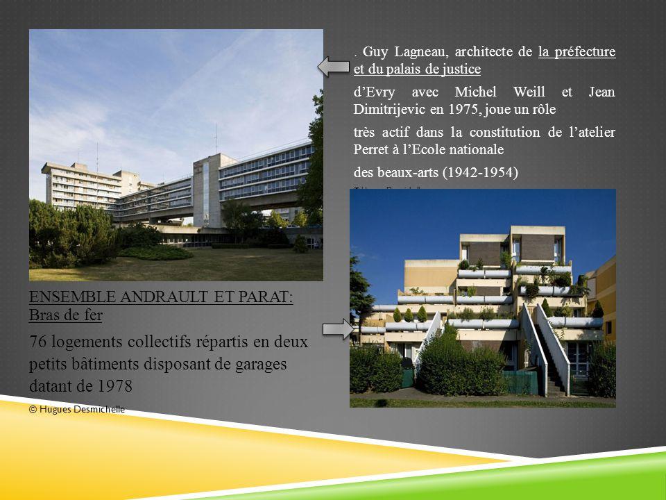 ENSEMBLE ANDRAULT ET PARAT: Bras de fer 76 logements collectifs répartis en deux petits bâtiments disposant de garages datant de 1978 © Hugues Desmichelle.