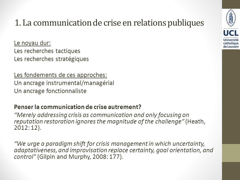 1. La communication de crise en relations publiques Le noyau dur: Les recherches tactiques Les recherches stratégiques Les fondements de ces approches