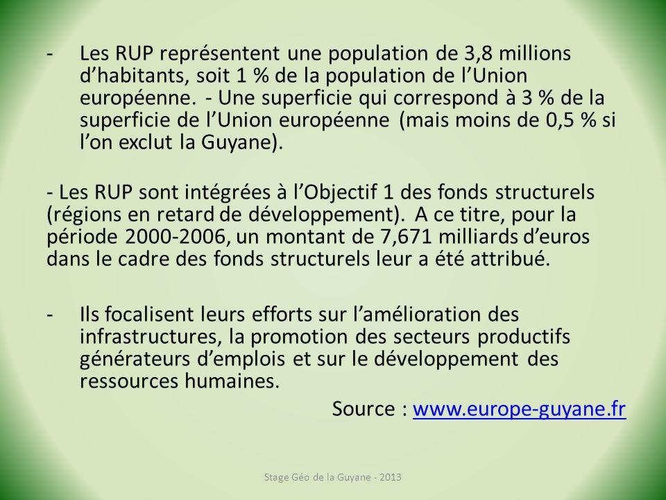 -Les RUP représentent une population de 3,8 millions dhabitants, soit 1 % de la population de lUnion européenne. - Une superficie qui correspond à 3 %