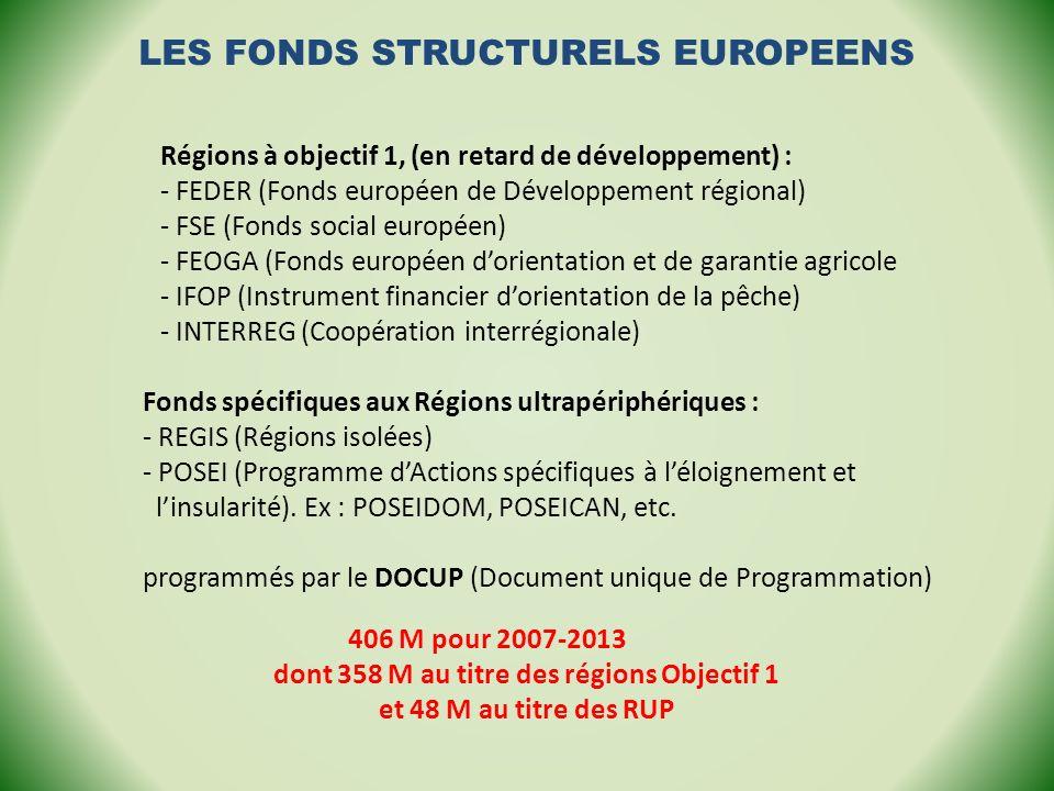 Fonds spécifiques aux Régions ultrapériphériques : - REGIS (Régions isolées) - POSEI (Programme dActions spécifiques à léloignement et linsularité). E